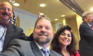 Photo bombed and bunny eared by Alan Gottlieb, sitting next to Cheryl Todd while Massad Ayoob speaks at the 2016 GRPC