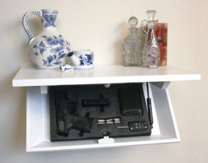 Covert Gun Safe concealed in a shelf